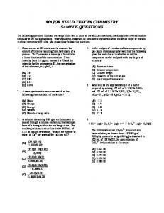 major field test in chemistry sample questions - ets