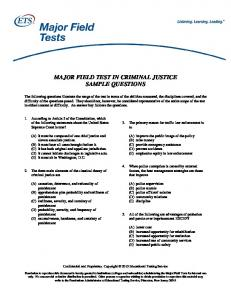 major field test in criminal justice sample questions - ETS