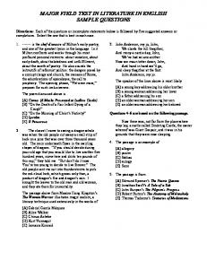 Major Field Test Literature in English Sample Questions