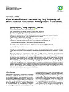 Major Maternal Dietary Patterns during Early Pregnancy and Their ...