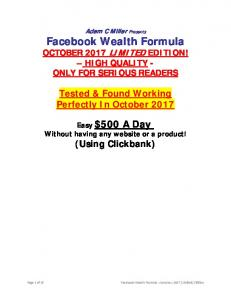 Make Money With Facebook Wealth Formula - Perfect Strategy To ...