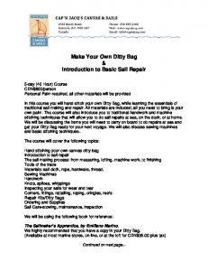 Make Your Own Ditty Bag & Introduction to Basic Sail Repair