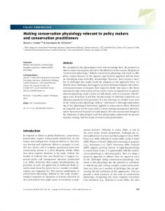 Making conservation physiology relevant to ... - Wiley Online Library