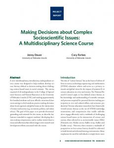 Making Decisions about Complex Socioscientific Issues - SECEIJ