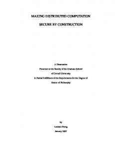 MAKING DISTRIBUTED COMPUTATION SECURE BY CONSTRUCTION