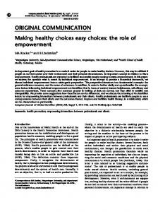 Making healthy choices easy choices: the role of empowerment