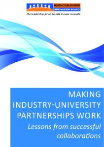 Making industry university partnerships work - Science|Business ...