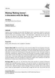 Making 'Making money': A discussion with Ole ... - Finance and Society