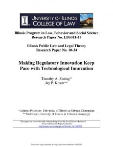 Making Regulatory Innovation Keep Pace with Technological Innovation