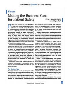 Making the Business Case for Patient Safety - Society of Hospital ...