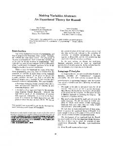 Making Variables Abstract: An Equational Theory ... - ACM Digital Library
