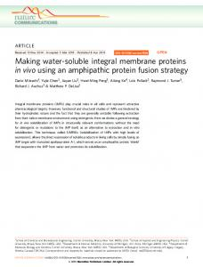 Making water-soluble integral membrane proteins in vivo ... - Nature