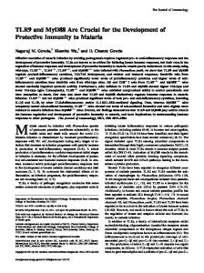 Malaria Development of Protective Immunity to TLR9 and MyD88 Are ...