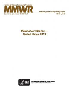 Malaria Surveillance — United States, 2013 - Centers for Disease ...