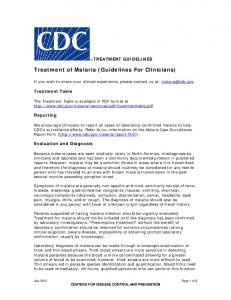 Malaria Treatment Guidelines - Centers for Disease Control and ...