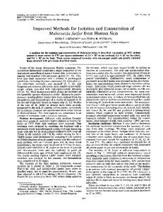 Malassezia furfur from Human Skin - Journal of Clinical Microbiology