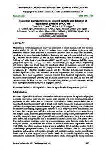 Malathion degradation by soil isolated bacteria and detection of ...