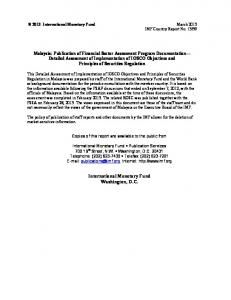 Malaysia: Publication of Financial Sector Assessment Program ...