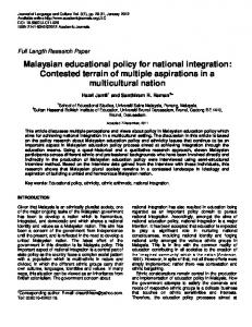 Malaysian Educational Policy for National ... - Academic Journals