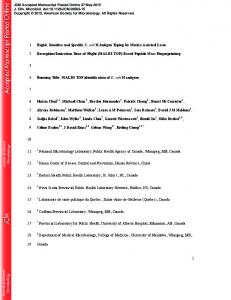 MALDI - Journal of Clinical Microbiology - American Society for ...
