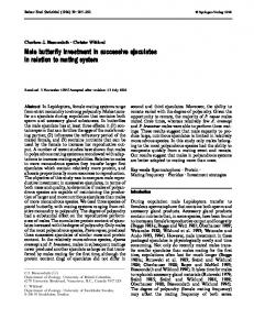 Male butterfly investment in successive ejaculates in relation to mating ...