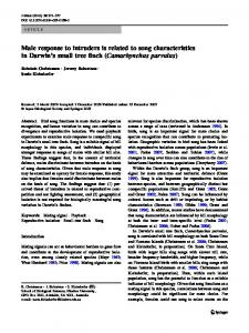 Male response to intruders is related to song ... - Springer Link