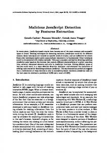 Malicious JavaScript Detection by Features Extraction - e-Informatica ...