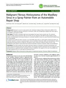 Malignant Fibrous Histiocytoma of the Maxillary Sinus in a Spray ...