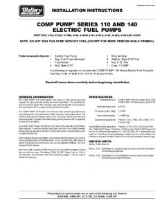 Mallory 4140 Fuel Pump Electric Installation Instructions - Jegs