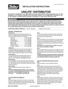 Mallory Unilite Distributor Installation Instructions