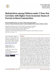 Malnutrition among Children under 5 Does Not Correlate with Higher ...