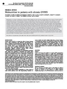 Malnutrition in patients with chronic GVHD - Nature