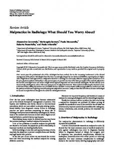 Malpractice in Radiology: What Should You Worry About?