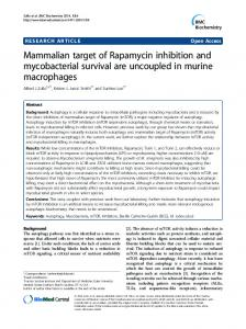 Mammalian target of Rapamycin inhibition and ... - BioMedSearch