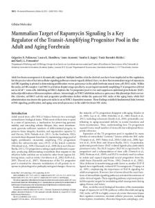Mammalian Target of Rapamycin Signaling Is a ... - Semantic Scholar
