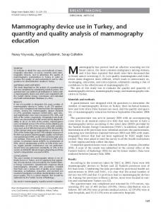 Mammography device use in Turkey, and quantity ... - Semantic Scholar
