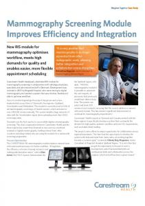 Mammography Screening Module Improves Efficiency and Integration