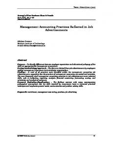 Management Accounting Practices Reflected in Job Advertisements