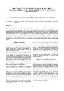 management and prevention of natural disasters - International ...