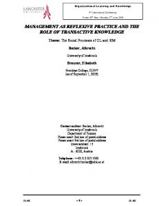 management as reflexive practice and the role of transactive knowledge