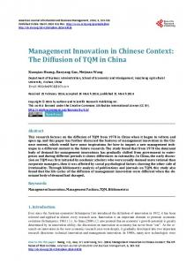 Management Innovation in Chinese Context: The Diffusion of TQM in ...