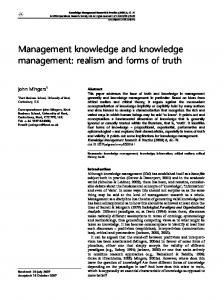 Management knowledge and knowledge