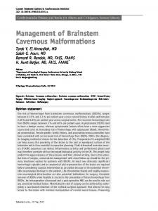 Management of Brainstem Cavernous Malformations