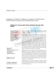 Management of Diabetes in Pregnancy: Comparison of Guidelines ...
