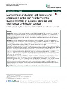 Management of diabetic foot disease and