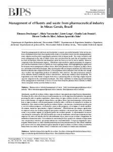 Management of effluents and waste from pharmaceutical industry in ...