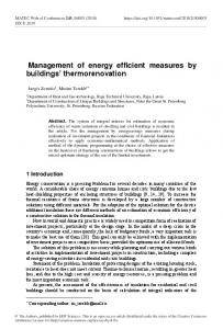 Management of energy efficient measures by buildings