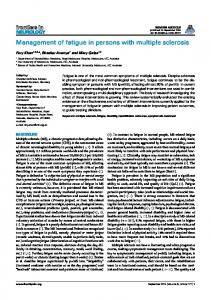 Management of fatigue in persons with multiple