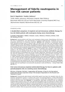 Management of febrile neutropenia in low risk cancer patients - NCBI