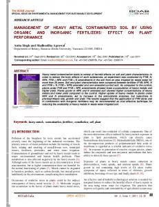 management of heavy metal contaminated soil by using organic and ...